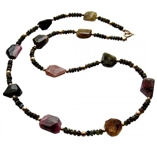 Turmalin grün und bunt Halskette lang vergoldet Unikat N°201