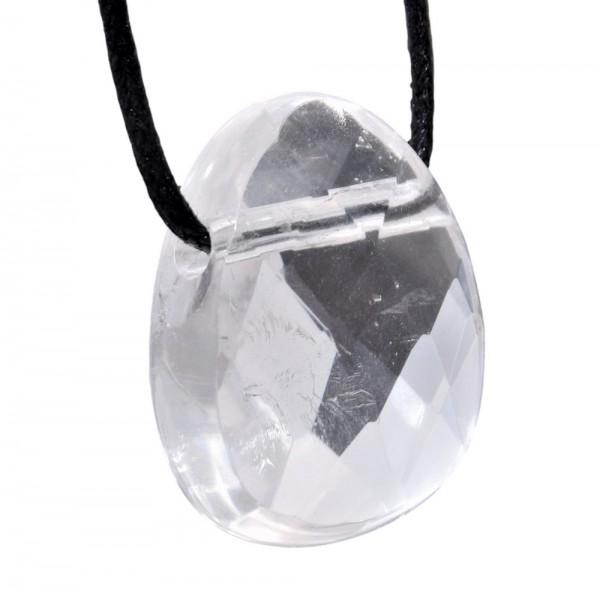 Bergkristall Anhänger gebohrt facettiert
