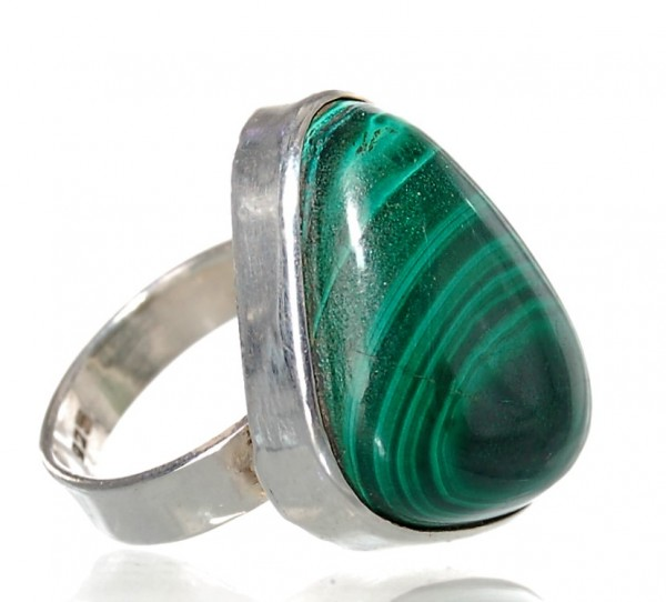 Malachit Ring Silber Unikat Gr. 55
