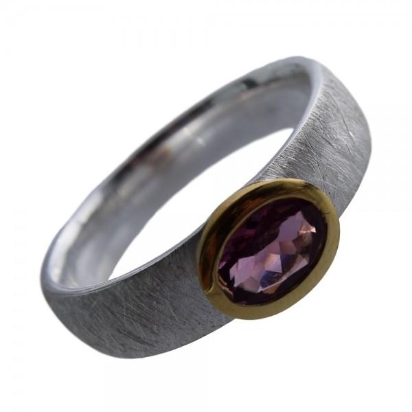 Turmalin pink Ring 925 Sterling Silber vergoldet Gr. 58