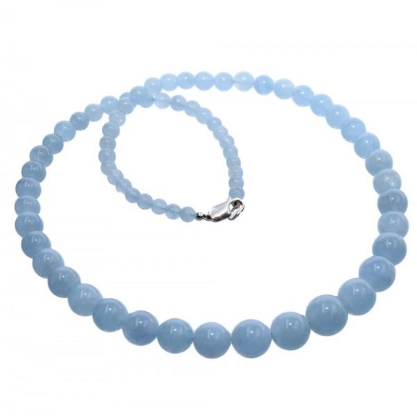 Aquamarin Kette blau 925 Silber 54 cm