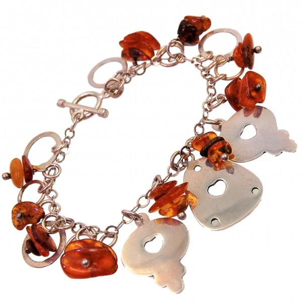 Bernstein Armband Bettelarmband Silber Schloß mit Schlüssel