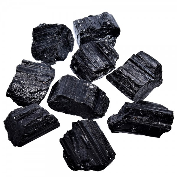 Turmalin schwarz Kristall natur klein 1 Stück ca. 20 x 18 mm