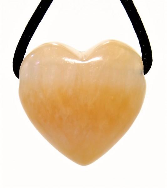 Calcit orange Herz Anhänger gebohrt