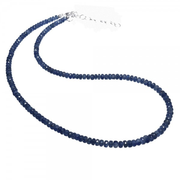 Saphir blau Kette facettiert 925 Silber 45-51 cm verstellbar N°241