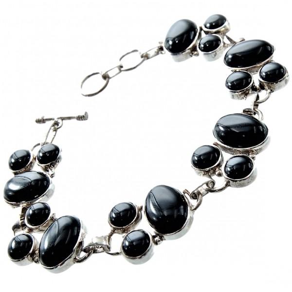 Onyx Armband Silber im verspielten Cabochon-Schliff