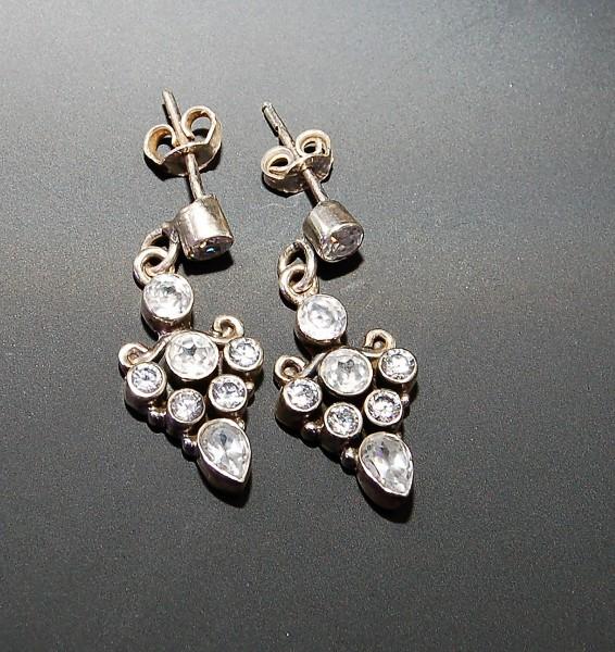 Bergkristall mit Topas Ohrstecker hängend facettiert 925 Silber