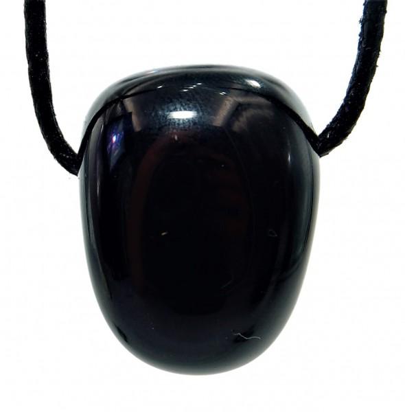 Obsidian schwarz Anhänger gebohrt
