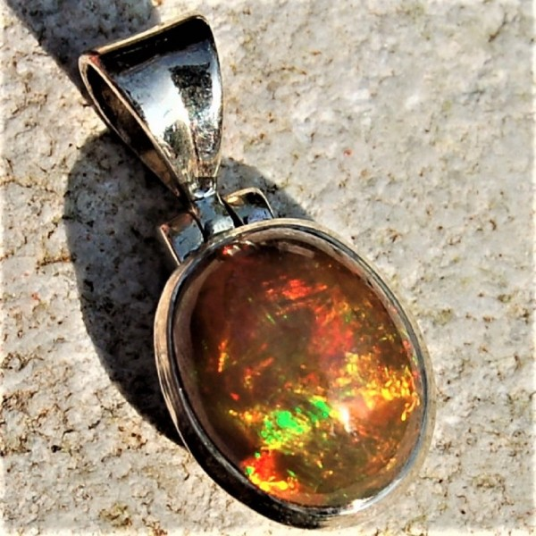 Opal Kristallopal Anhänger orange Silber Unikat N°296