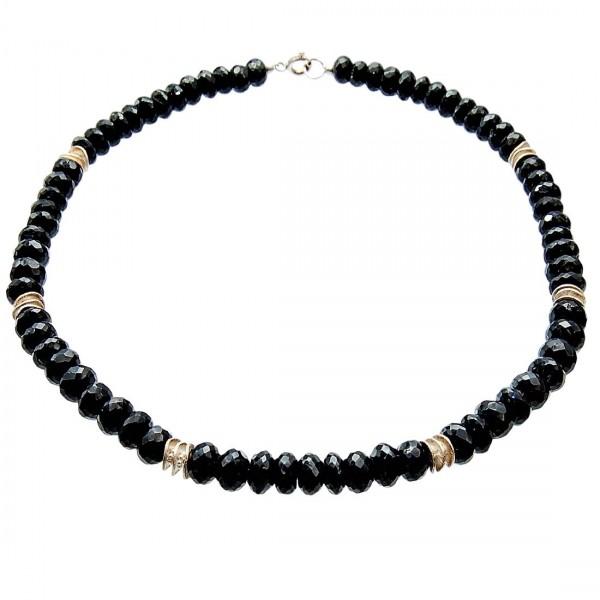 Spinell Kette schwarz Silber Unikat N°201
