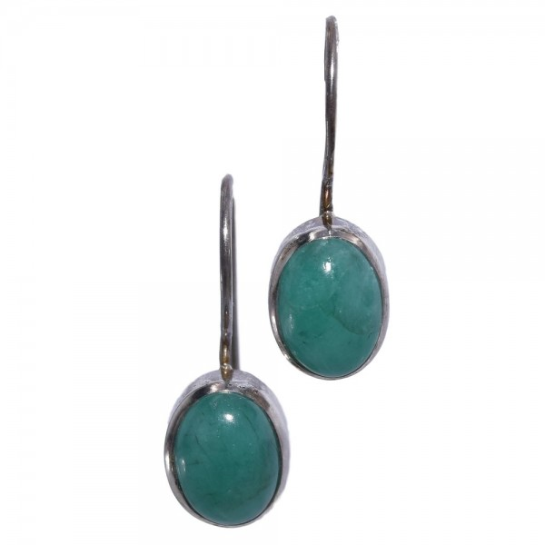 Smaragd grün Ohrring hängend in 925 Silber Unikat N°283