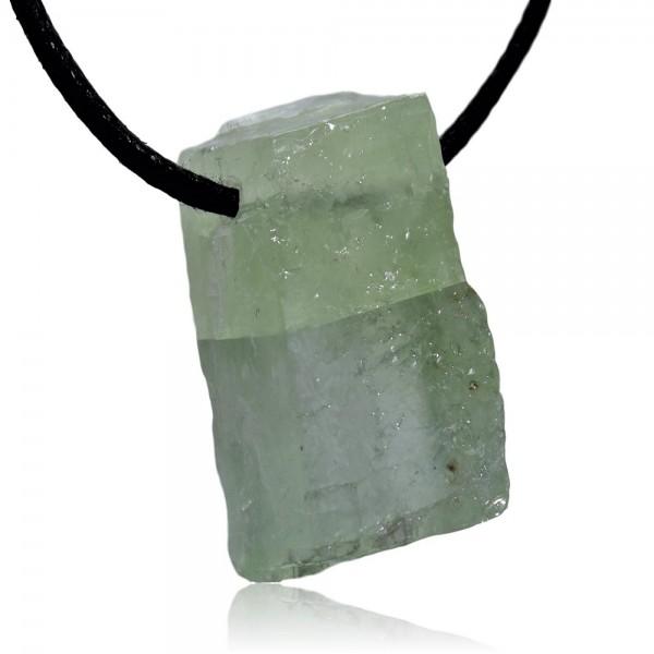 Calcit grün Kristall Anhänger gebohrt N°788