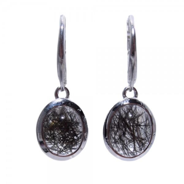 Turmalinquarz Ohrring Hänger Cabochon 925 Sterling Silber