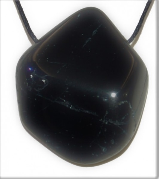 Turmalin schwarz Anhänger gebohrt