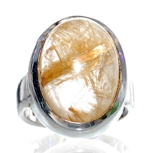 Rutilquarz Ring Silber Design Unikat Gr. 54