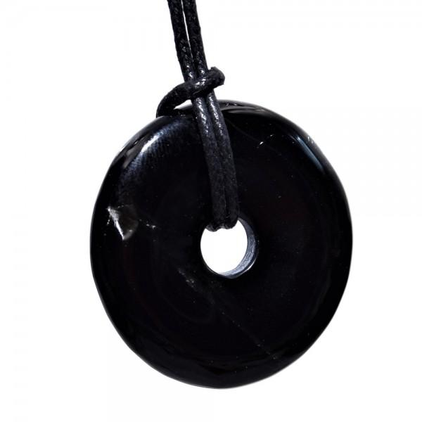 Obsidian Anhänger Donut schwarz