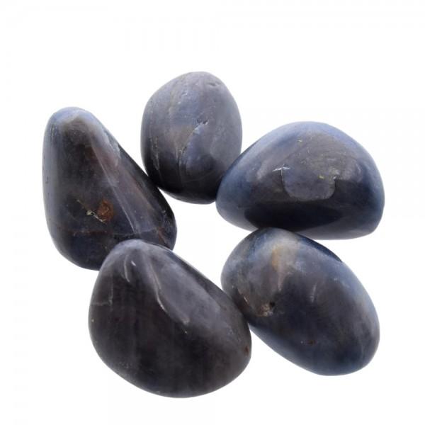 Saphir Trommelstein blau-grau ca. 25 mm