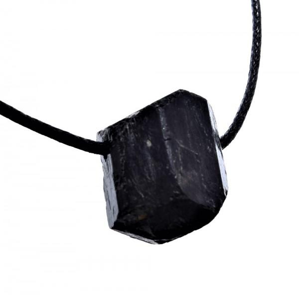Turmalin schwarz Anhänger Rohstein gebohrt N°818