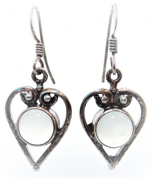 Mondstein Ohrhänger Silber Herz