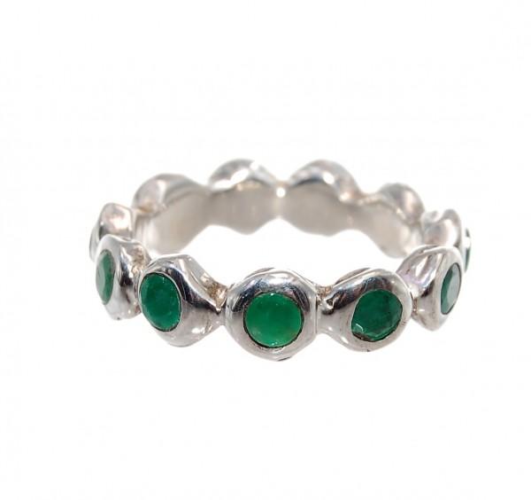 Smaragd Ring Silber Design Unikat Gr. 62