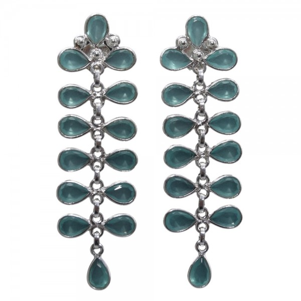 Topas blau Ohrring Stecker hängend 925 Silber