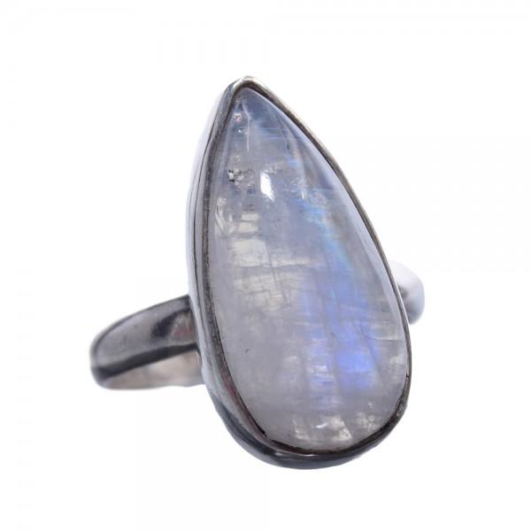 Mondstein weißer Labradorit Ring 925 Silber Gr. 60