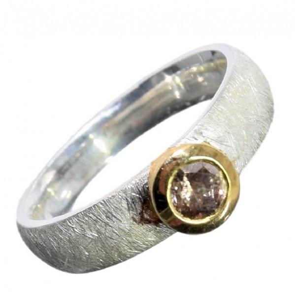Diamant braun Ring 925 Sterling Silber vergoldet