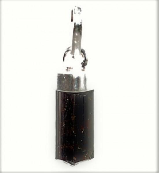 Turmalin schwarz Kristall Anhänger Silber