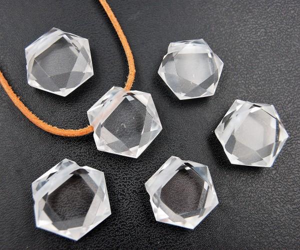 Bergkristall Hexagon Anhänger gebohrt
