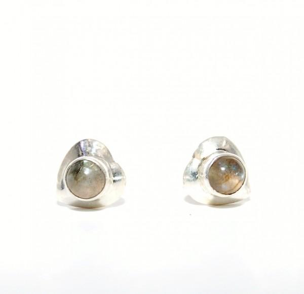 Labradorit Ohrstecker Herz 925 Sterling Silber