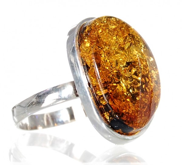 Bernstein Ring Silber Design Unikat Gr. 58
