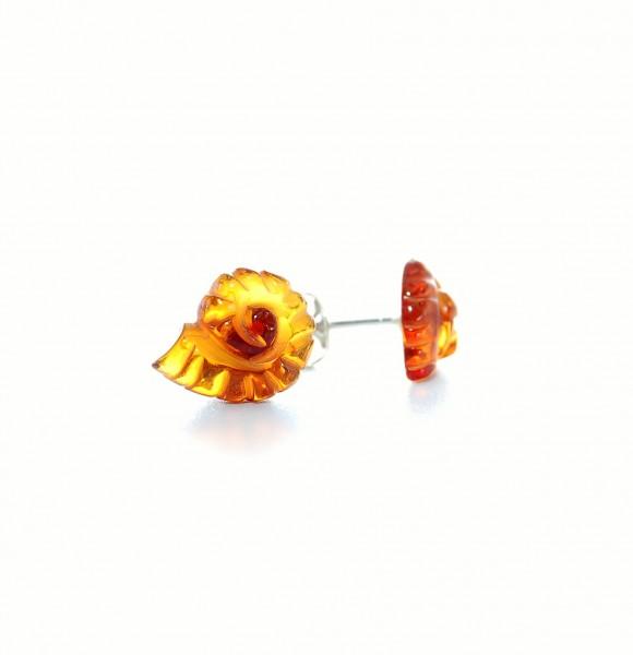Bernstein Ohrstecker Ammonit graviert 925 Silber