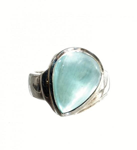 Aquamarin Ring Silber Design Unikat Gr. 56