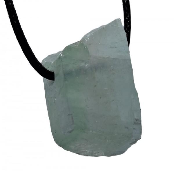 Calcit grün Anhänger Rohstein gebohrt N°819