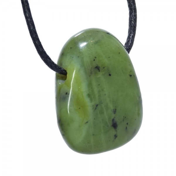 Jade Anhänger gebohrt flacher Tropfen
