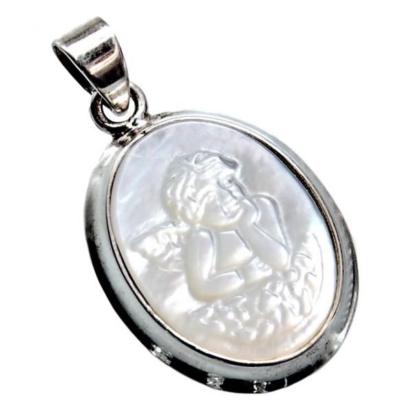 Schutzengel Anhänger Perlmutt graviert 925 Silber
