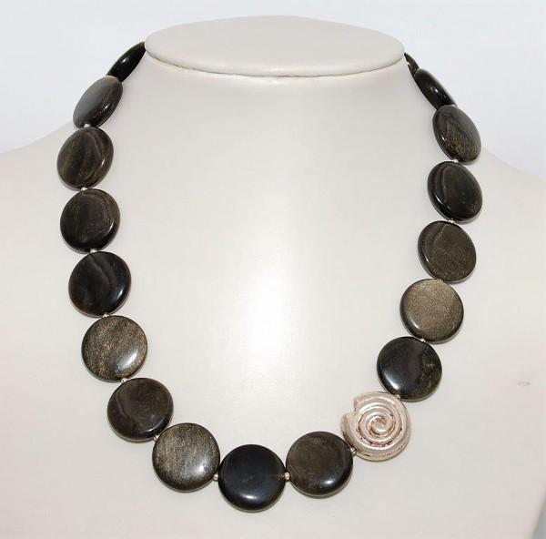 Obsidian Silberobsidian Kette