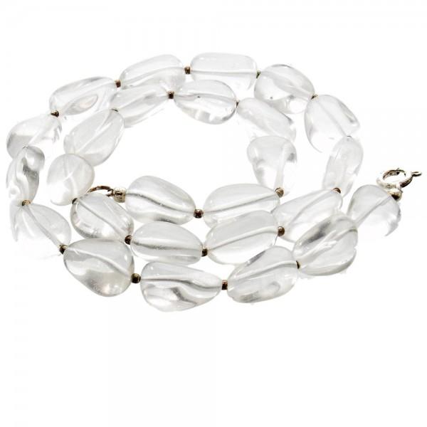 Bergkristall klare Trommelstein Halskette mit Silber