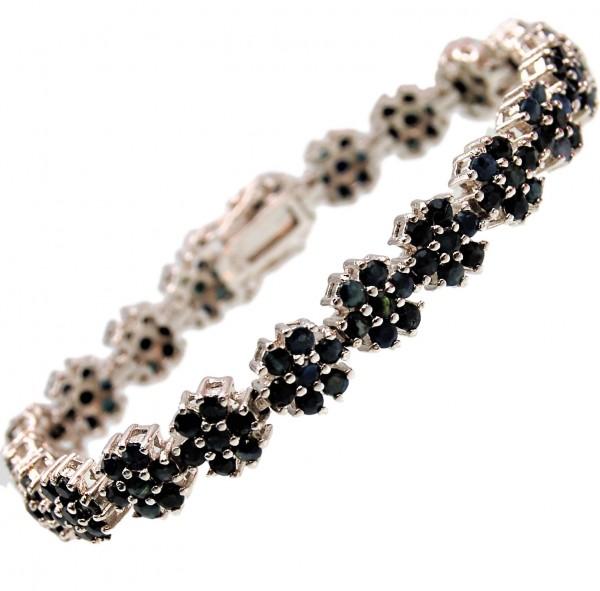 Saphir Armband blau 925 Sterling Silber
