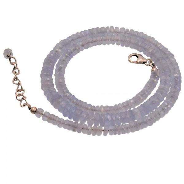 Chalcedon blau Kette facettiert verstellbar von 44 bis 48 cm