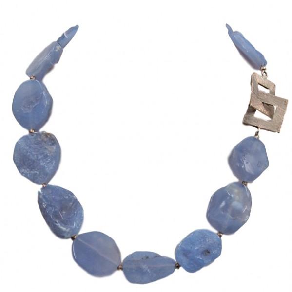 Chalcedon blau Kette Silber Unikat N°201