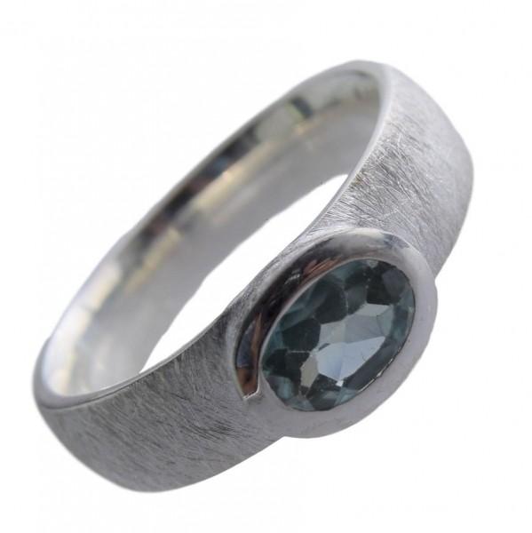 Zirkon Ring 925 Sterling Silber mattiert Gr. 54