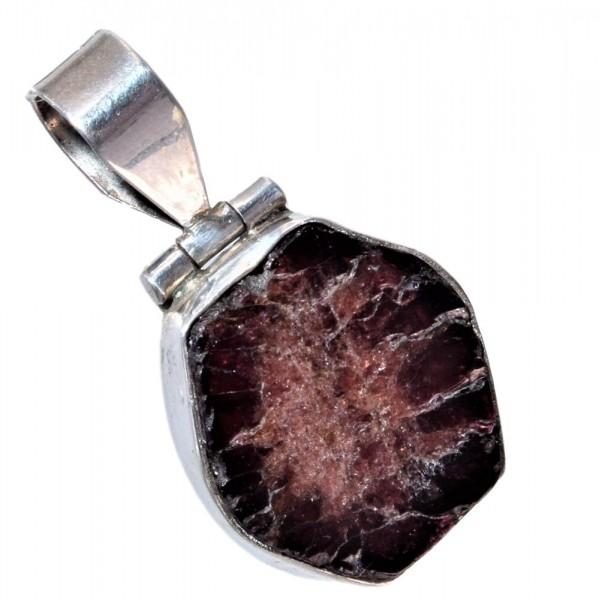 Granat Kristall Anhänger Silber N°309