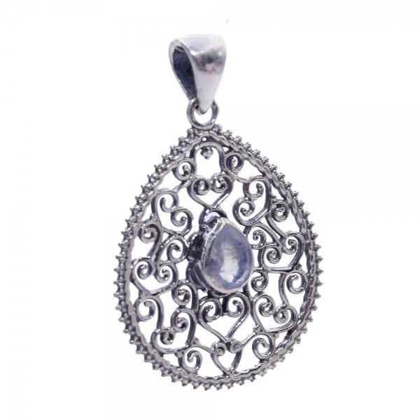 Mondstein weißer Labradorit Anhänger 925 Silber Ornament