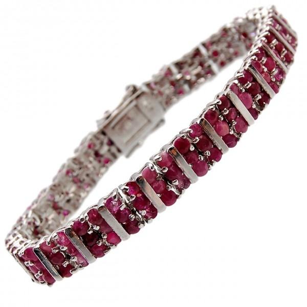 Rubin Armband Silber facettiert rhodiniert