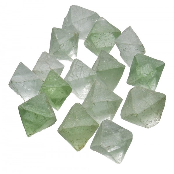 Fluorit Rohstein Oktaeder klein 3er Set