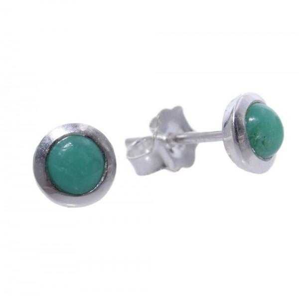 Smaragd Ohrstecker 925 Silber kleiner Cabochon 6 mm