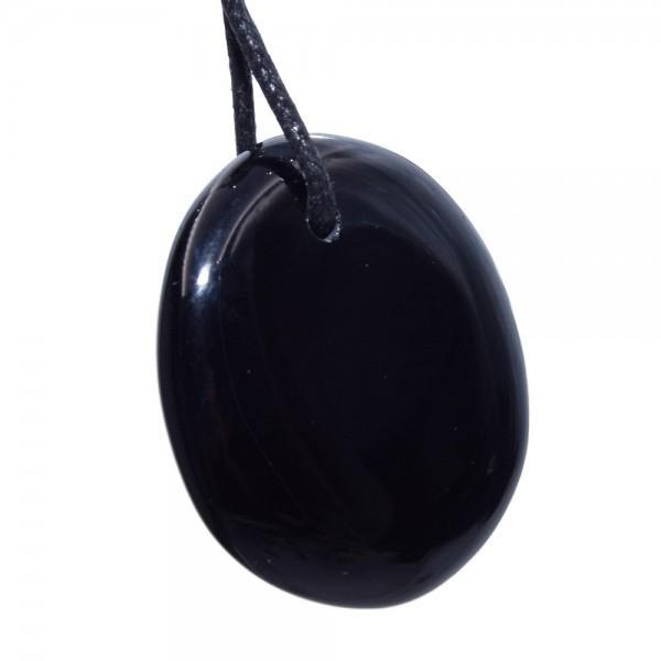 Obsidian schwarz Anhänger gebohrt XL N°791