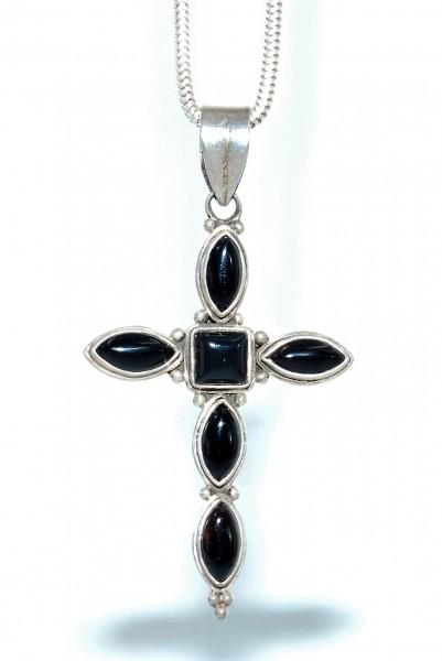 Onyx Kreuz Anhänger aus 925 Silber