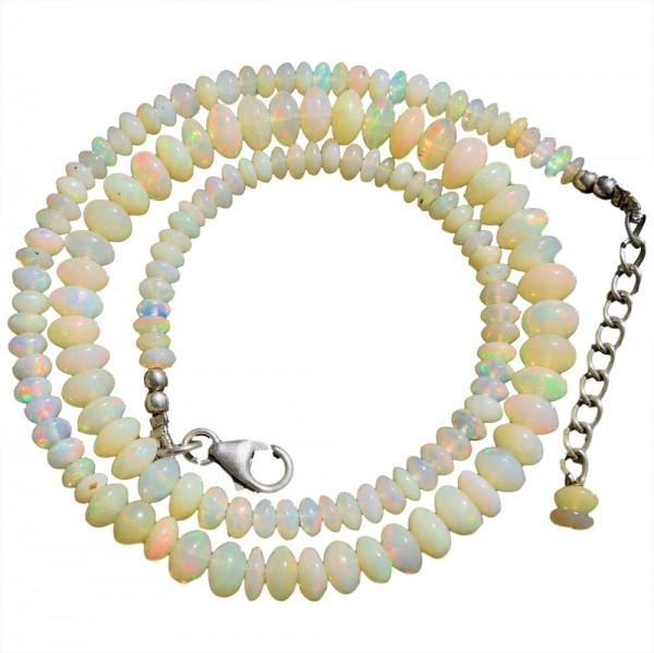 Opal Kristallopal Halskette 925 Silber verstellbar 44 bis 48 cm